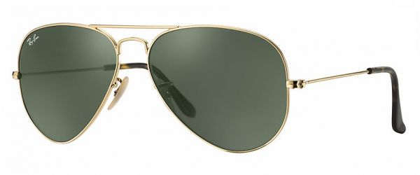 Ray-Ban Unisex Aviator Sunglasses- Gold Frame,Green Lens RB3025-181 58