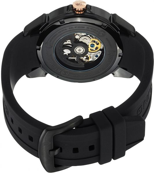 Stuhrling Men`s Black Dial Rubber Band Watch - 539.33561