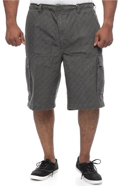627 Blue Big and Tall Knee length Drawstring Waistband Cargo Shorts Cotton for Men - Grey