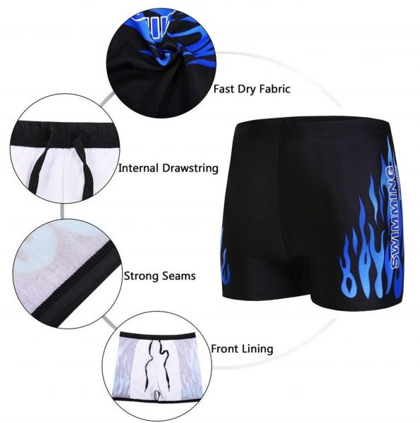 Men`s Swimsuit Set Swim Goggles Swim Cap Ear Plugs Nose Clip Swim Bag Jammer Swimming Set Size 3XL