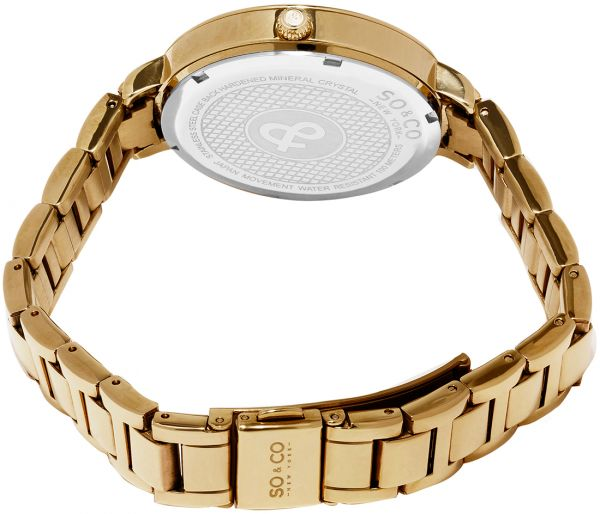 SO&CO New York Soho Women`s Gold Dial Stainless Steel Band Watch - 5066.3