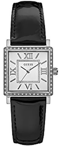 Guess Women`s Silver Dial Leather Band Watch - W0829L3