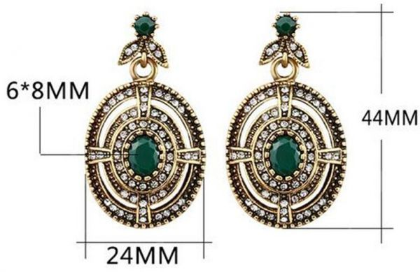 Retro Boho Style Alloy Gem Hook Hollow Big Earrings