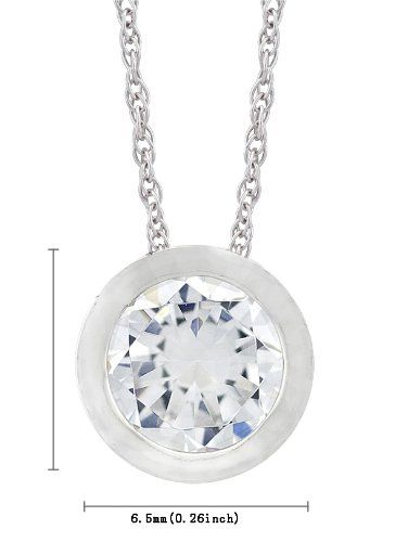 Platinum Plated Sterling Silver Round Cut 6.5mm Cubic Zirconia Pendant Necklace, 18
