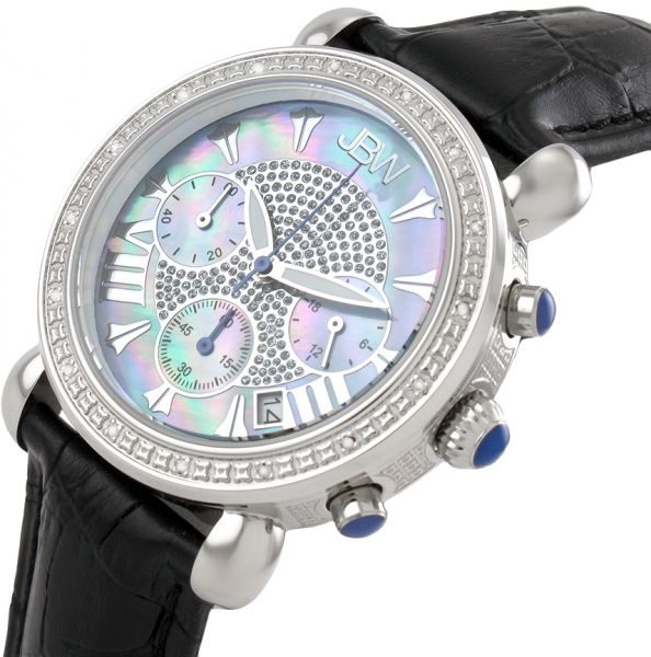 JBW Victory Women`s 16 Diamonds Mother of Pearl Dial Leather Band Chronograph Watch - JB-6210L-C