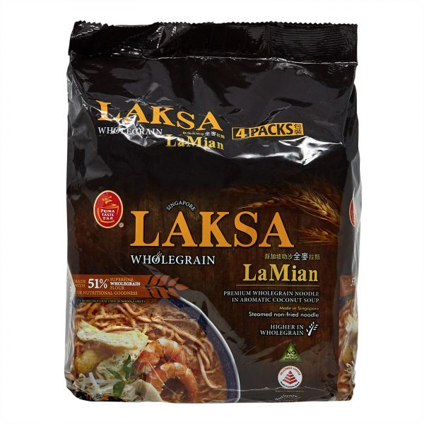 Prima Laksa La Mian Whole Wheat Noodles, 185 gm - Pack of 4