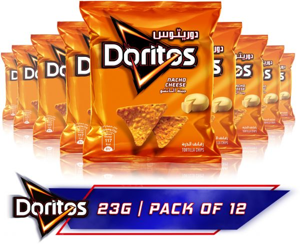 Doritos Nacho Cheese Tortilla Chips, 23g x 12
