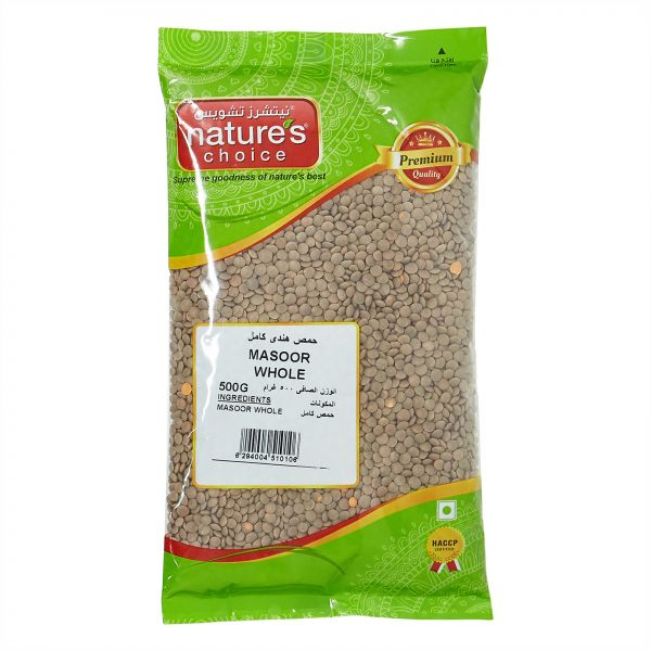 Natures Choice Masoor Whole - 500 gm