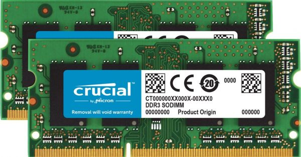 Crucial 2 GB DDR3 1066 MT/s (PC3-8500) CL7 SODIMM 204-Pin for Mac (CT2G3S1067M) 4GB KIT (2GBx2) CT2K2G3S1067M