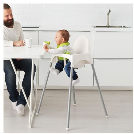 Baby High Chair with Safety Belt, White