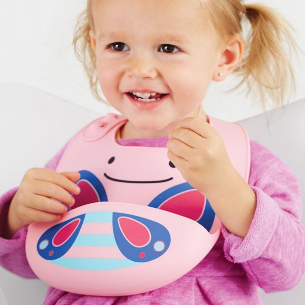 Skip Hop Zoo Fold & Go Silicone Bib, Pink Butterfly