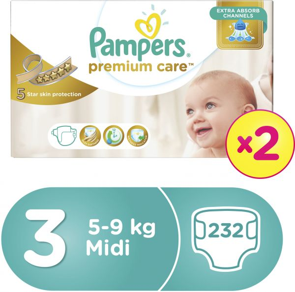 Pampers Premium Care Diapers, Size 3, Midi, 5-9 kg, Double Mega Box, 232 Count