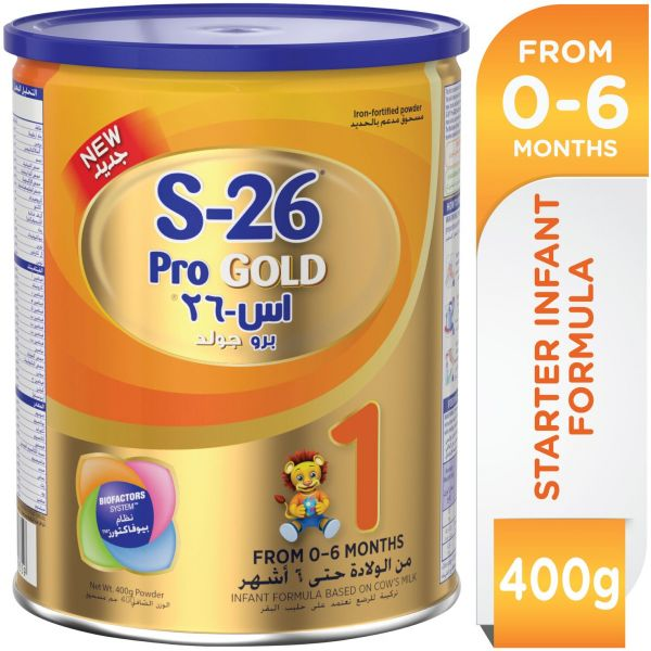 Wyeth S-26 Pro Gold Stage 1, 0-6 Months Premium Starter Infant Formula For Babies Tin, 400g
