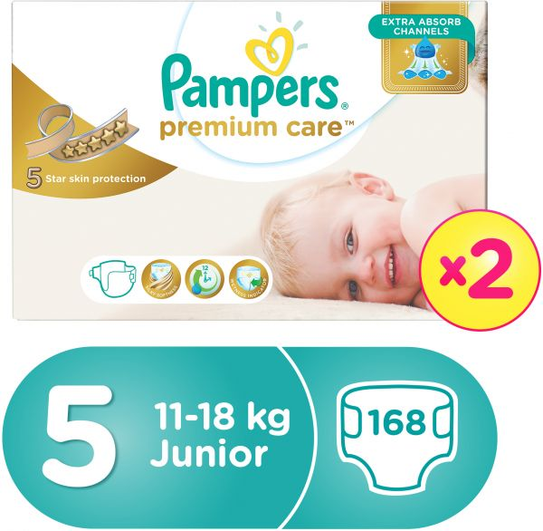 Pampers Premium Care Diapers, Size 5, Junior, 11-18 kg, Double Mega Box, 168 Count
