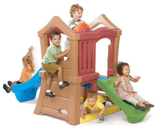 Step2 Play Up Double Slide Climber Outdoor Toy and Structures - Brown, 800000