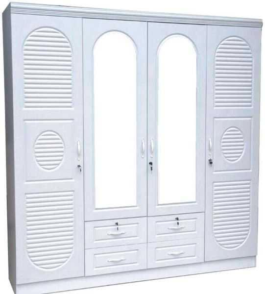4 Door Wooden Wardrobe With 4 Drawers At the Bottom 200 x 200 x 55 cms White
