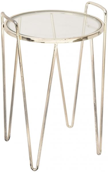 Deco 79 54733 Metal Glass Accent Table, 18