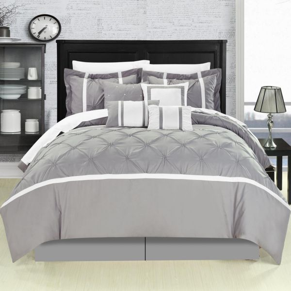 Vermont Grey 12 Piece Comforter Bed In A Bag Set With Sheet Set Queen Grey 127/160-Q-06-CN