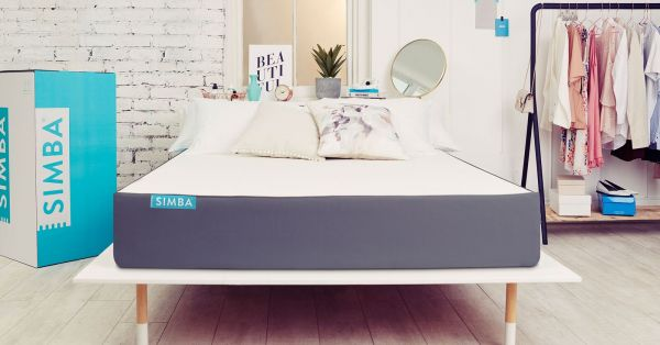 Simba Hybrid Mattress Single Size, White & Blue - H 25 cm x W 80 cm x D 200 cm