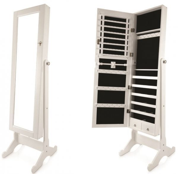 Full Length Jewelry Cabinet With Mirror [white]
