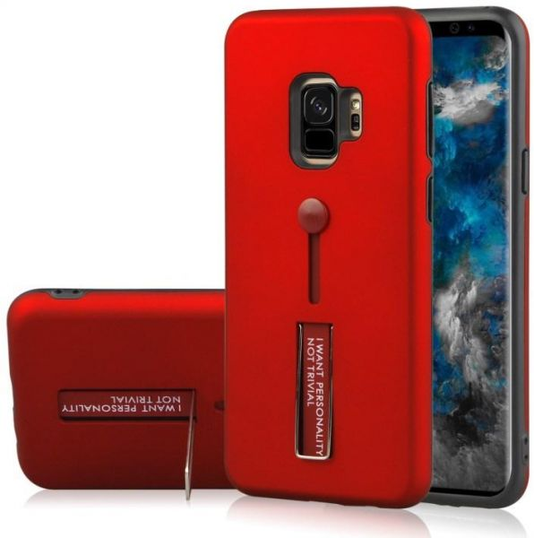 Samsung Galaxy S9 Matte Shockproof Ring Stand PC+TPU Back Case Cover - Red