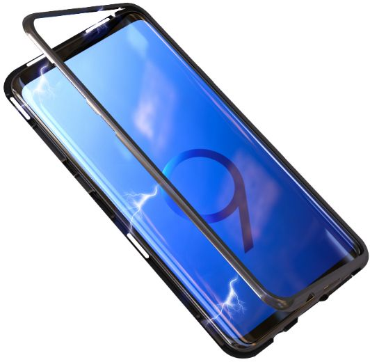Metal filp Magnetic Adsorption phone Case For Samsung Galaxy S9 Plus Glass Magnet case cover