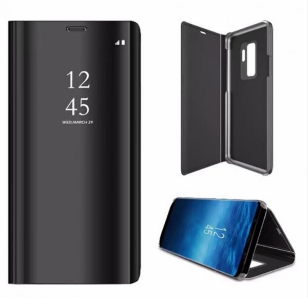 Samsung Galaxy S9 Plus Clear View Original Mirror case Flip Cover Stand - Black