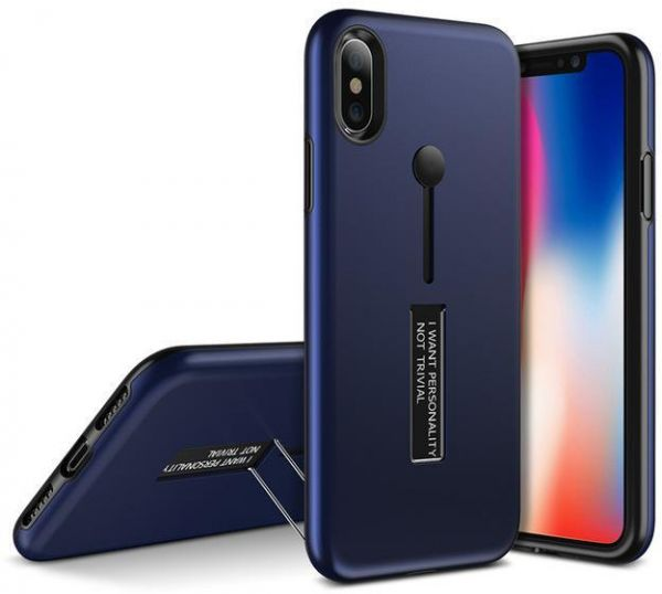 iPhone X cover with Compact plastic grip , Dark blue color