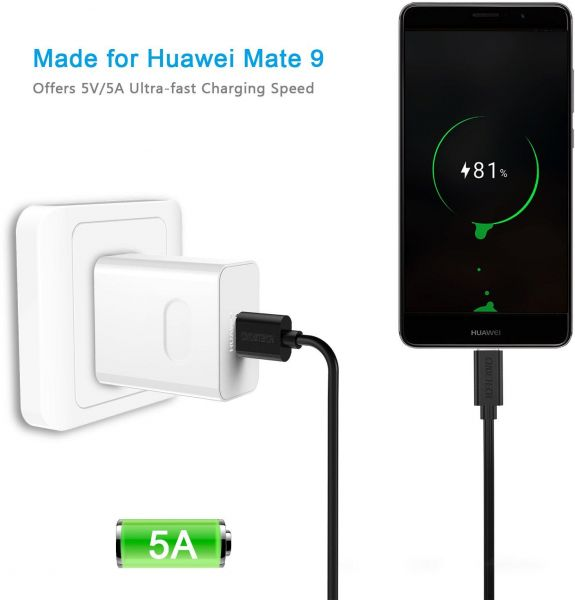 Huawei Mate 9 cable [5 V 5 A rapid charge] 1 m CHOETECH USB Type C to Type A Charging & data transfer cable Huawei Mate 9, compatible with Lumia 950/950 XL