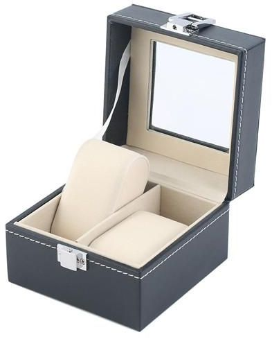 2 Slots Grid PU Leather Watch Boxes Casket Display Box Jewelry Storage Organizer Case locked Watch With Glass Top Winder