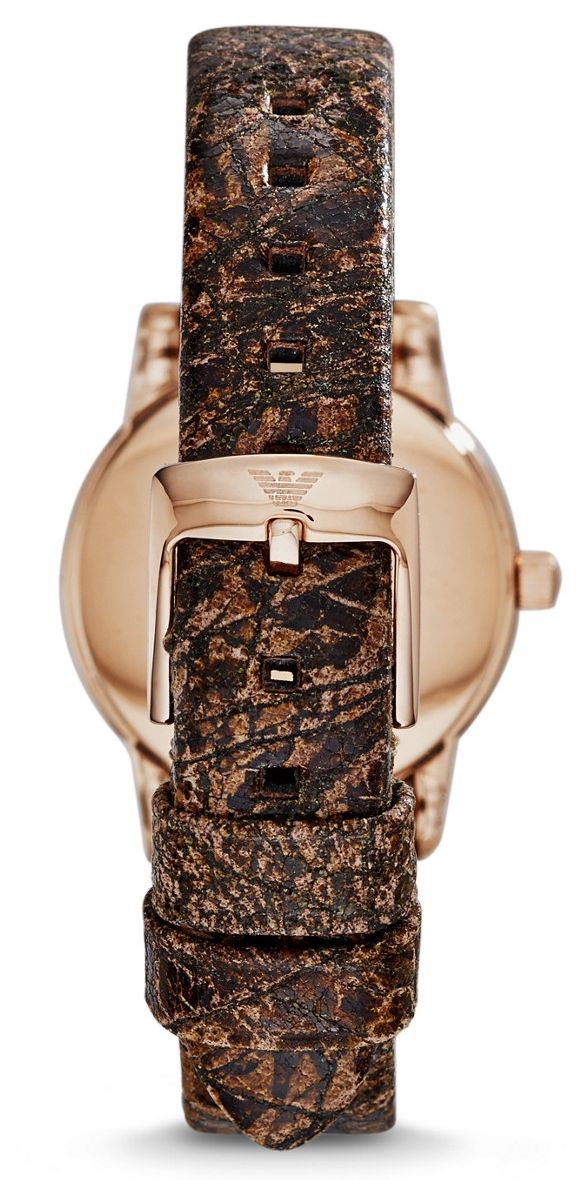 Emporio Armani Classic Women`s Rose Gold Dial Leather Band Watch - AR1813