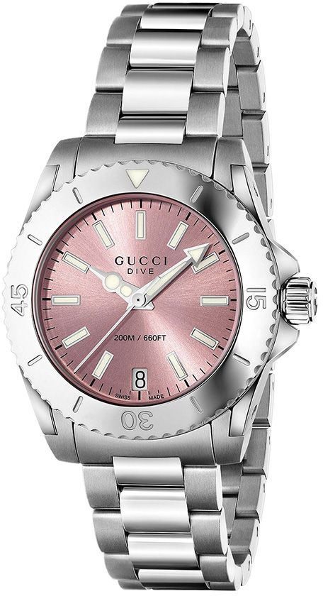 Gucci Women`s Pink Dial Stainless Steel Band Watch - YA136401