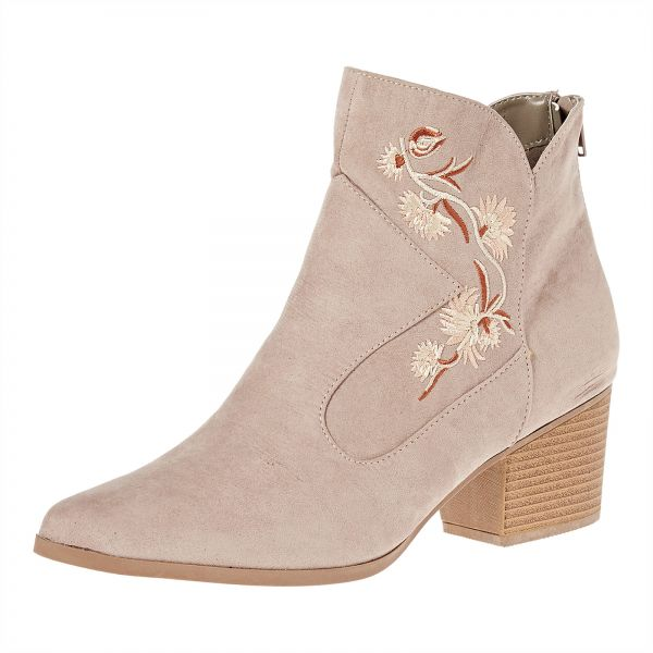 Qupid Heels Boots for Women - Taupe
